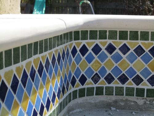 Custom made pool border tiling