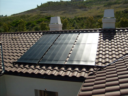 Panels mounted on roof