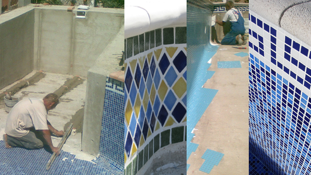 Swimming pool re-tiling